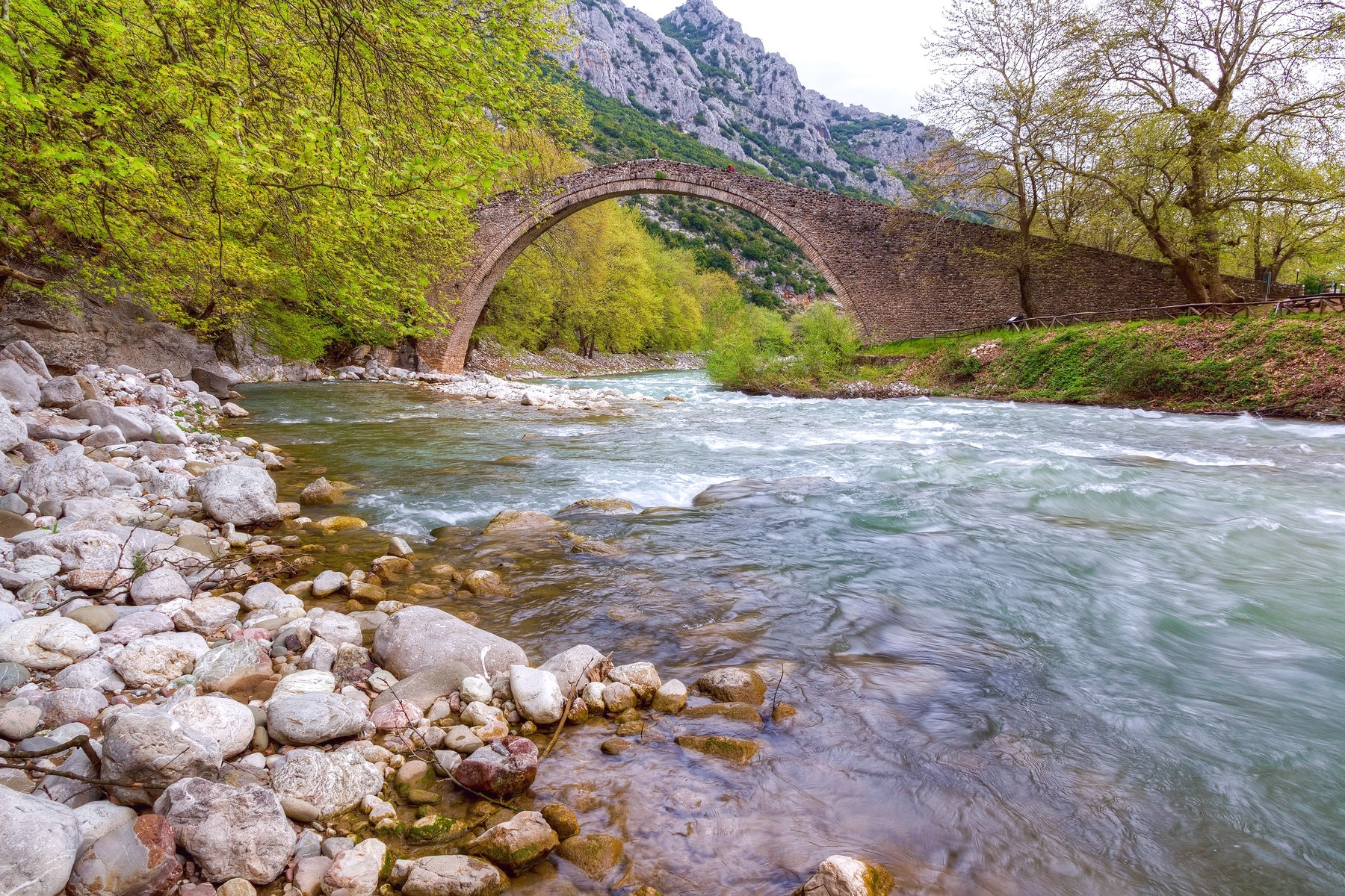 The Arch Stone Bridge And The Portaikos River Of Pertouli (1)