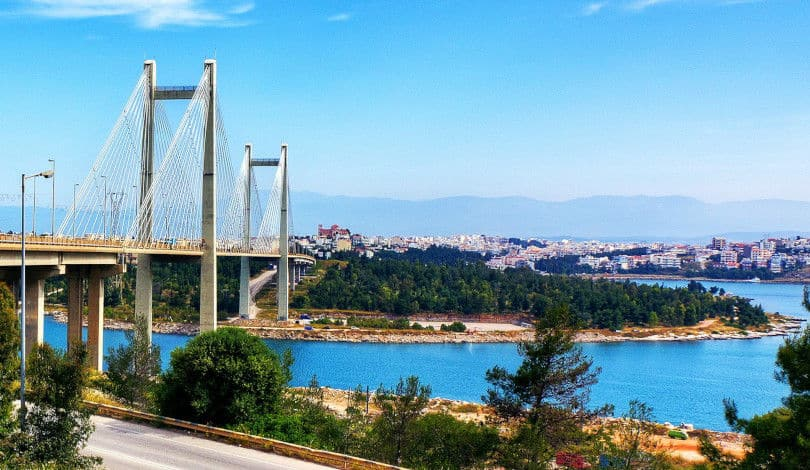 View Of The Bridge Leading To Chalkida City