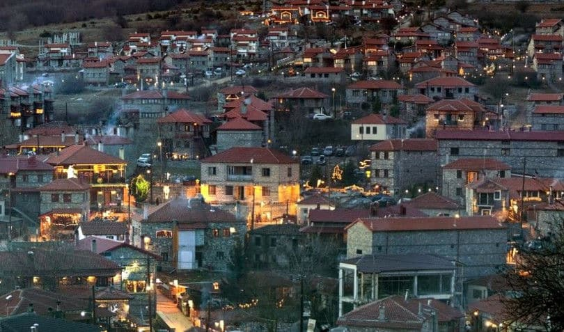 Agios Athanasios Village In Pella At Night
