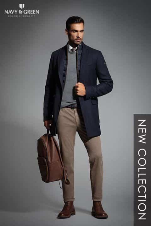 c28e23403904 ... καλοραμμένα σακάκια και πλεκτά υψηλής ποιότητας για τις πιο επίσημες  εμφανίσεις είναι μερικές μόνο από τις προτάσεις της Navy   Green για τους  άντρες.