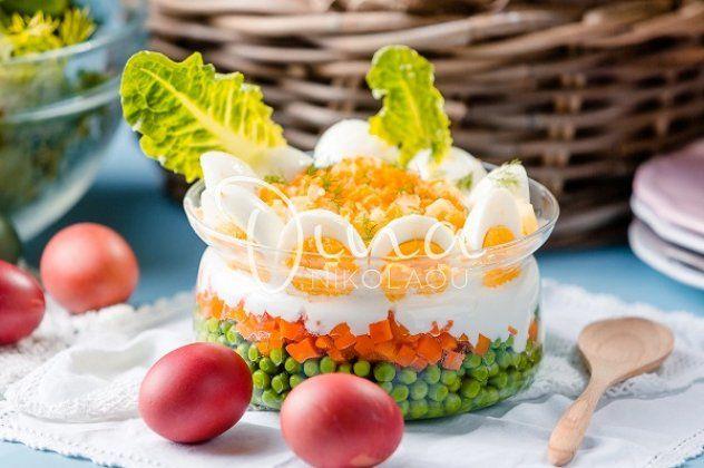 Μια πασχαλινή αυγοσαλάτα από την Ντίνα Νικολάου – Με αρακά και πικάντικη βινεγκρέτ, θα σας ξετρελάνει