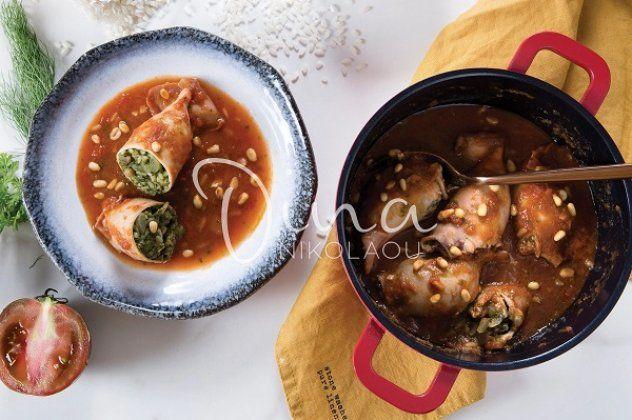 Η Ντίνα Νικολάου προτείνει: Καλαμάρια γεμιστά με «πράσινο» ρύζι