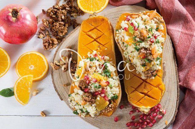 Ντίνα Νικολάου: Ψητή κολοκύθα γεμιστή με κινόα και πορτοκάλι